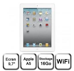 Tablette APPLE iPad 2 WiFi  16Gb Blanc Avec Accessoire Originaux (Adaptateur secteur + Cable USB) Etat Comme Neuf