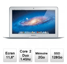 MacBook Air 11 Core 2 Duo 1.4GHz - 2GB - 128GB SSD - Nvidia GeForce 320M ( 161 Cycle) Model Fin 2010 Occasion