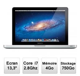 MacBook Pro 13 Core i7 / 2.8 GHz / 4G / 750 / 133 Cycles - MacOS X 10.8.3 Etat comme neuf