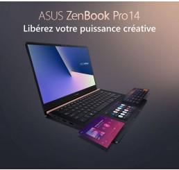 Pc Portable Ultrabook 1.6Kg ASUS ZenBook Pro 14 UX480FD Core i7-8565U QUAD 1.8Ghz Turbo 4.6Ghz 8G DDR4 256SSD 14 FULLHD NVIDIA GTX 1050 4G Azerty rétroéclairé Licence Windows 10 64 Bit Neuf sous emballage Garantie constructeur 11-10-2020