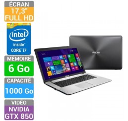 Pc Portable ASUS R752L Core i7-4510U 2Ghz Turbo 3.1Ghz - 6G - 1Tera HDD Ecrant 17.3 FULL HD - NVIDIA® GeForce™ GTX 850M - Azerty - Windows 8.1 - Neuf sous emballage