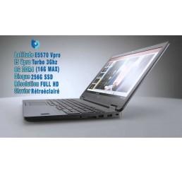 Pc Portable Dell Latitude E5570 2016 Core i5-6300U vPro 6ème Generation 2.4Ghz Turbo 3Ghz - 8G DDR4 - 256G SSD - Ecran 15.6 FULL HD - Clavier rétroéclairé - Windows 10 Pro - Etat comme neuf