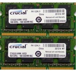Barrette Mémoire Marque CRUCIAL 16Go KIT de 2 x 8 Go DDR3L 1600 SODIMM  Compatible MAC Neuf sous emballage Garantie constructeur à vie