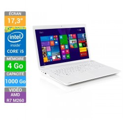 Pc Portable Toshiba SATELLITE C70-B-35Q Blanc 2015 Core i5 i5-5200U 5eme génération 2.2GHz Turbo 2,7Ghz - 4G - 1T HDD- Ecran 17,3 LED HD+ AMD Radeon R7 2G - Clavier azerty - Windows 8.1 64 Bit Préinstallé Neuf sous emballage