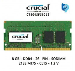 Barrette Mémoire Marque CRUCIAL SO-DIMM DDR4 8 Go 2133 MHz 1.2V CL15  Neuf sous emballage Garantie constructeur à vie