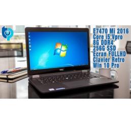 Pc Portable Latitude Ultrabook Mi 2016 E7470 Core i5 Vpro 6300U 2.4Ghz Turbo 3Ghz 8G DDR4 256G SSD Ecran 14 FULL HD Clavier rétroéclairé Lecteur d'empreinte digitale Licence Windows 10 Pro Etat comme neuf