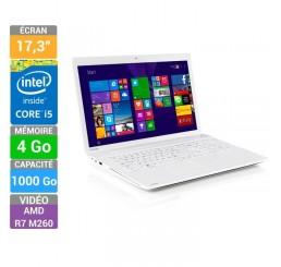 Pc Portable Toshiba SATELLITE C70-B-35Q Blanc 2015 Core i5 i5-5200U 5eme génération 2.2GHz Turbo 2,7Ghz - 4G - 1T HDD- Ecran 17,3 LED HD+ AMD Radeon R7 2G - Clavier azerty - Windows 8.1 64 Bit Préinstallé Neuf sous emballage